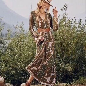 Altar'd State Dresses - ALTAR'D STATE Boho Green Long Sleeve Maxi Dress